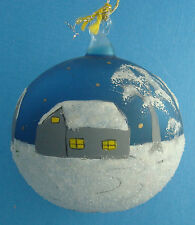 "2¾"" blown glass Christmas ornament hand painted country houses in snow"