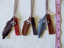 New Handmade Leather Feather Pendants & Angel Necklace Metal Chain 3 in a lot