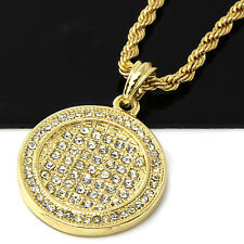 """Mens Gold ICED OUT Round Medallion Pendant 24"""" Rope Chain Hip Hop Necklace D488"""