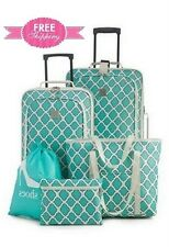 Luggage Set 5 Pc Turquoise Wheeled Suitcase Carry On Tote Toiletry Cosmetic Bag