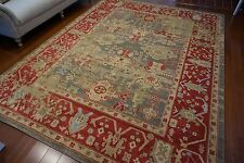 High Quality Rustic Red Persian Antique Tabriz Style Blue Gray Gold Rug 8x10