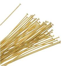 Head Pins, 2 Inches Long and 24 Gauge Thick, 50 Pcs, Gold Tone Brass