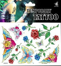 RosenTattoo 1 Bogen Fake Tattoo einmal Tattu tatoo tatto temporary Schmetterling