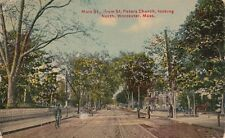 Antique POSTCARD c1912 Main Street from St. Peters Church WORCESTER, MA 13307