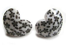 WHITE FLORAL HEART STUD PUNK GOTHIC ALT INDIE GRUNGE EARRINGS