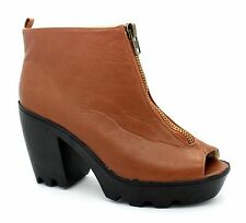 "Fiore Womens UK 8EU 42 Brown Open Toe 4"" Block Heel Brand New Zip Up Ankle Boots"