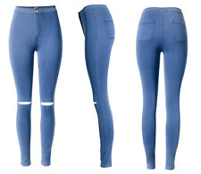 WOMENS HIGH WAISTED SKINNY JEANS RIPPED LADIES JEGGINGS KNEE 6 8 10 12 14 16 18