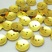 New 30pcs Gold Round Plastic Buttons 2 Holes Sewing Craft 25mm