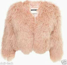 Topshop Pink Mongolian Real Sheepskin Wool Fur Short Crop Jacket Coat 10 38 US6
