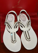 RENE CAOVILLA  Embellished Crystal and Pearl Calf Thong Sandals Flat Size 38.5