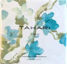Tahari Fabric Cotton Blend Shower Curtain Printemps Floral Teal Olive Green  NEW