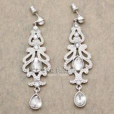 Art Deco 20s 30s Flapper Costume Austria Crystal Bridal Silver Dangle Earrings
