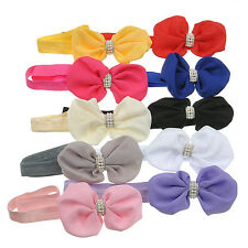 10pcs Wholesale Baby Kids Girls Bow Rhinestone Headband Pearl Bow Knot Hair Band