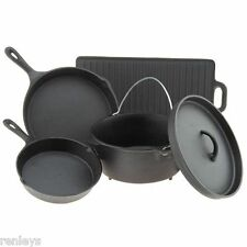 Cast Iron Cookware Set 5 Piece Dutch Oven Cooking Pots Skillets Home Camping NEW