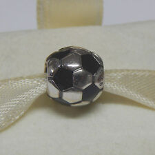 New Authentic Pandora Charm 790406 Soccer Ball  Black Enamel Bag Included