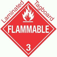 Standard Worded Flammable Class 3 Laminated Tagboard Placard (PACK OF 50)