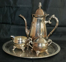 Heavy Silver Plated Coffee Tea Pot Kettle Set with Tray Creamer Sugar - 4 Pieces