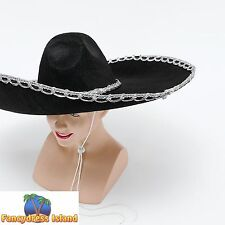 LARGE BLACK MEXICAN SOMBRERO BANDIT HAT Mens Fancy Dress Costume Accessory