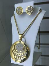 NWT! Women Stainless Steel Jewelry Set Gold Tone Round Diamond-cut sand stamp