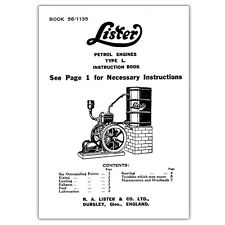Stationary Engine Booklet - Lister Petrol Engines L. Type Instruction Booklet