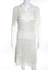 PRADA Ivory Silk Quarter Sleeve Crochet Knit Henley Sweater Dress Sz 46