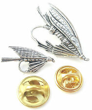 Fishing Fly Set Of Handcrafted from English Pewter in the UK Lapel Pin Badges