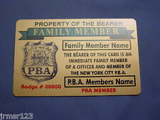 NYPD -PBA- DEA POLICE FAMILY MEMBER CARD IN BRASS NEW YORK  CITY POLICE-FOP-PBA