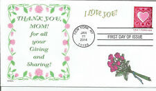 MOM  THANK YOU FOR GIVING AND SHARING   ROSES  CUT PAPER HEART FDC- DWc  CACHET