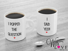 SET OF 2 MUGS POPPED QUESTION YES COFFEE MUG TEA CUP WEDDING ENGAGEMENT GIFT