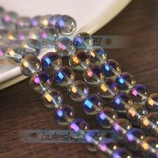 New 50pcs 8mm Electroplating Crystal Glass Round Loose Spacer Beads Purple