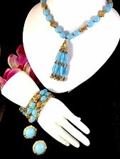 CROWN TRIFARI BLUE SUSPENDED ANIMATION BEAD TASSEL NECKLACE BRACELET EARRING SET