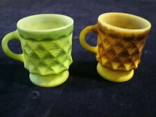 Vintage Fire King Mug Kimberly Lot 2pc Brown Green Anchor Hocking Coffee Cup  A8