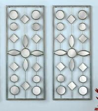 "Set of 2 Decorative Mirror Wall Art Panels w/ Hooks 27""H Iron Glass"