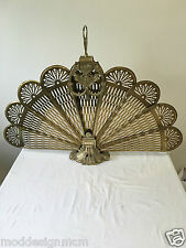 Brass Lady Peacock Fireplace Screen Folding Fan Cameo Hollywood Regency Vintage
