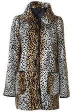 MISS SELFRIDGE SIZE 10-12 FAUX FUR LEOPARD SPOT PRINT WOMENS JACKET LADIES COAT