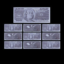 10pcs US $100 24k Silver Banknotes Dollar Bill Note Office Decor Collectible