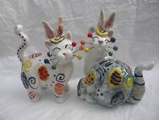 """WhimsiClay signed one-of-a-kind """"Easter Bunnies"""",  benefits animals"""