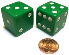 2x JUMBO Dice Six Sided D6 25mm Standard Square Edged Die GREEN With White Pips