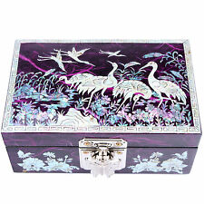Jewelry boxe Mother Of Pearl Wedding Gift ideas Boxes Craftsman Crane 1004Purple