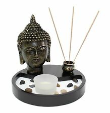 Tabletop Zen Garden Buddha Head Rock Candle Holder Incense Burner Home Decor
