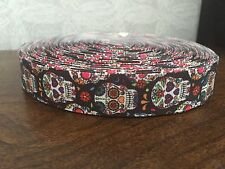1m Black Skulls Flowers Printed Grosgrain Ribbon, 7/8""