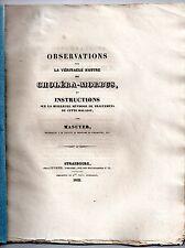 G-M MASUYER OBSERVATIONS SUR LE CHOLERA-MORBUS ET TRAITEMENTS 1832 MEDECINE
