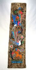 VINTAGE UNIQUE FANTASY COLORFUL FLORAL BIRD JAPANESE PAINTING ON HANDMADE PAPER
