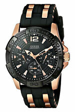 IMPORTED GUESS W0366G3 Black Rose Gold Chronograph Silicon Band Men'sWrist Watch