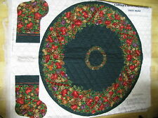 VIP Cranston Quilted Fabric Panel Tree Skirt & Stocking Christmas Orchard
