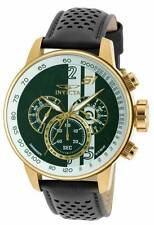 Invicta S1 Rally Chronograph Green and White Dial Black Leather Mens Watch 19908