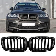 Pair Gloss Black Front Bumper Hood Grilles Grille For BMW E70 E71 X5 X6 07-13