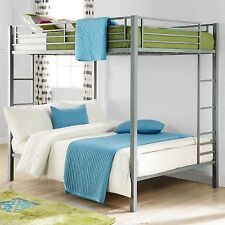Full Over Full Metal Bunk Bed Silver Kids Bedroom Furniture Double Bunkbeds NEW