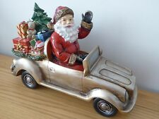 SALE 31cm Resin Gold Glitter Santa Car Xmas Ornament Christmas Decoration