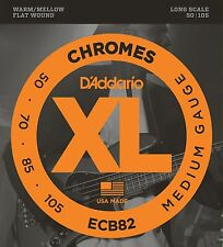 D'Addario Electric Bass Guitar Strings  Chromes  Flatwounds  ECB82  4 String